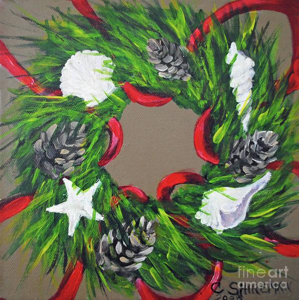christmas art print featuring the painting beach christmas wreath by carolyn shireman - Beach Christmas Wreath