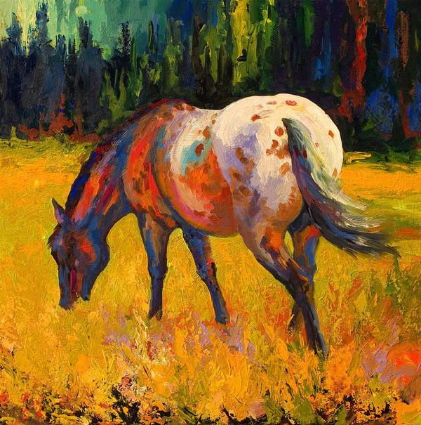 Horses Art Print featuring the painting Best End Of An Appy by Marion Rose