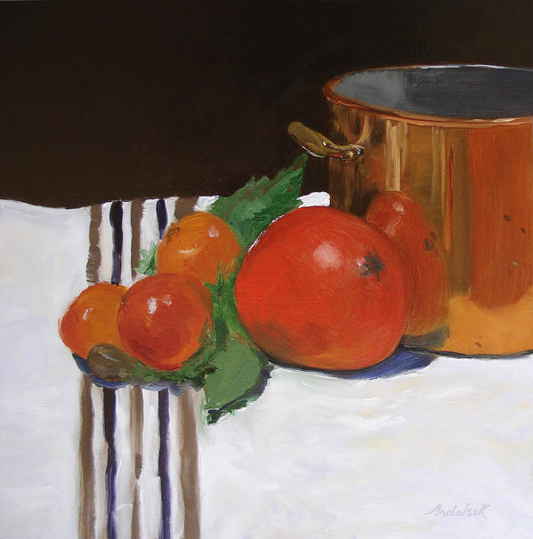 Still Life Art Print featuring the painting Big Red Tomato by Barbara Andolsek
