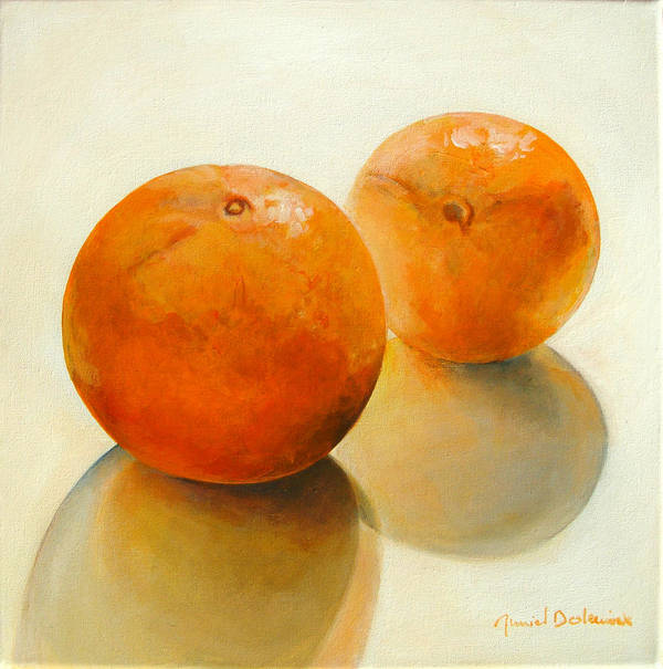 Still Life Art Print featuring the painting Billes Oranges by Muriel Dolemieux