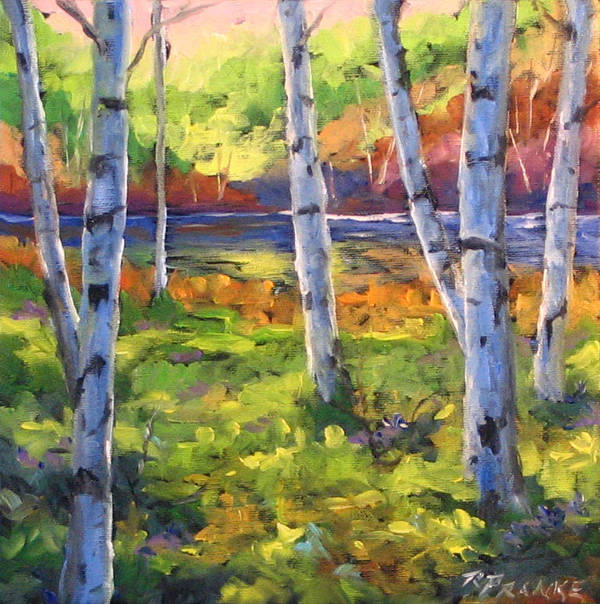 Art Art Print featuring the painting Birches 01 by Richard T Pranke