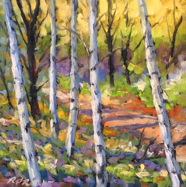 Art Art Print featuring the painting Birches 02 by Richard T Pranke
