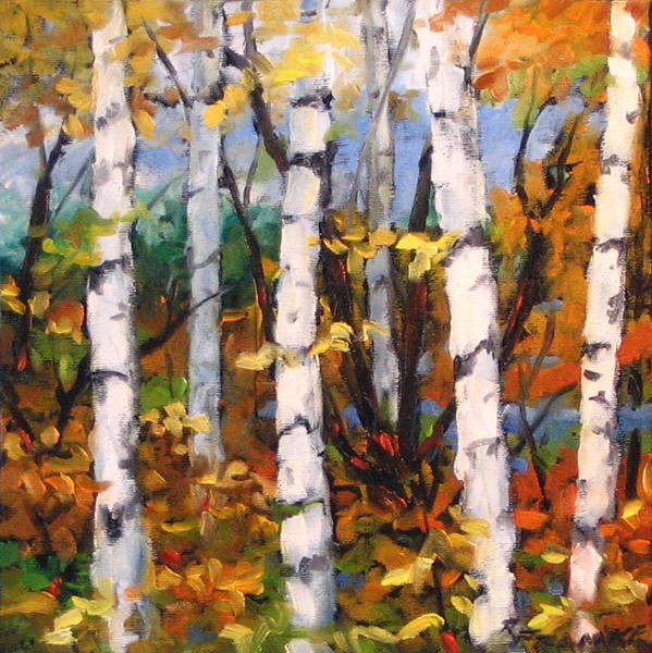Art Art Print featuring the painting Birches 03 by Richard T Pranke