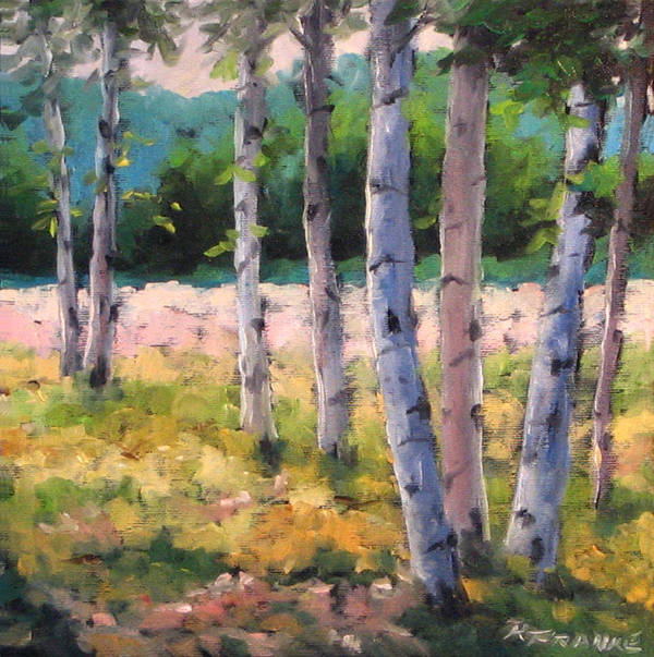 Art Art Print featuring the painting Birches 04 by Richard T Pranke