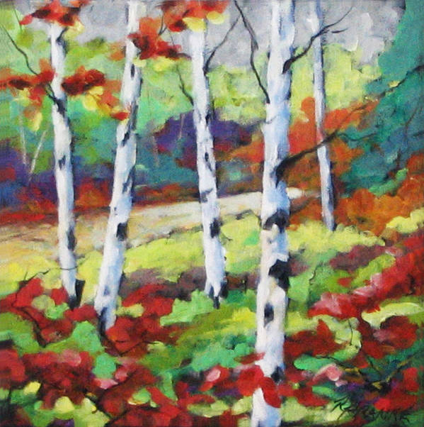 Art Art Print featuring the painting Birches 07 by Richard T Pranke
