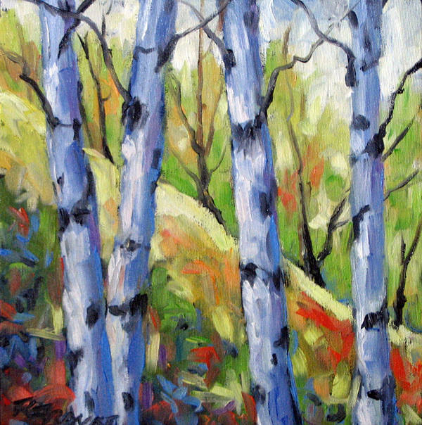 Art Art Print featuring the painting Birches 09 by Richard T Pranke