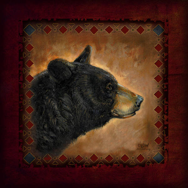 Wildlife Art Print featuring the painting Black Bear Lodge by JQ Licensing