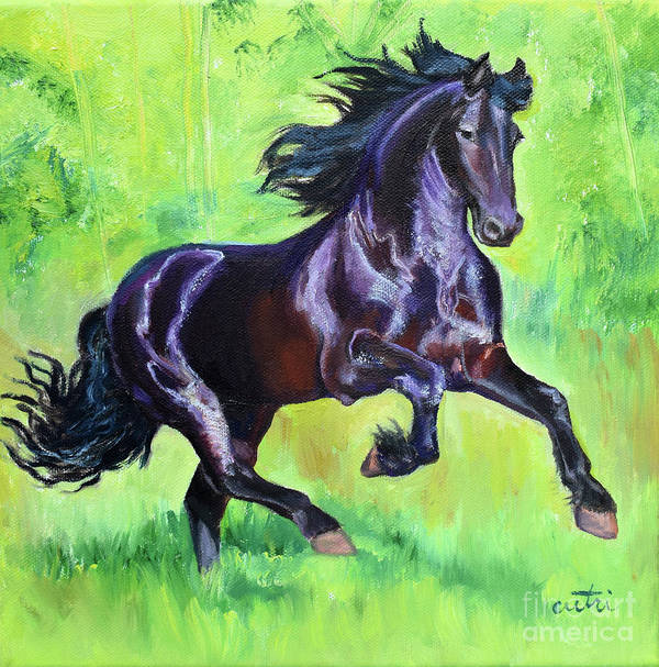 Galloping Horse Art Print featuring the painting Black Friesian Horse by Anne Cameron Cutri