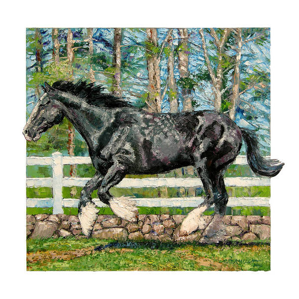 Horse Art Print featuring the painting Black Power by John Lautermilch