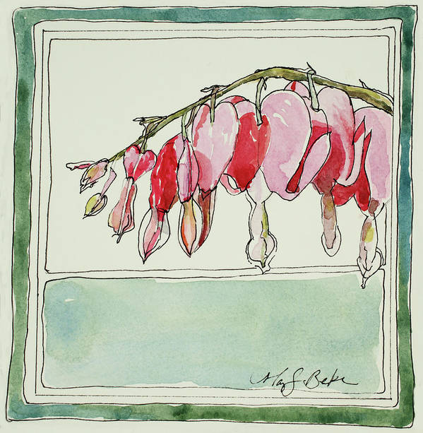 Watercolor Art Print featuring the painting Bleeding Hearts II by Mary Benke