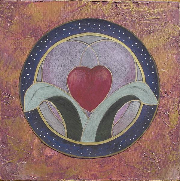 Heart Art Art Print featuring the mixed media Blooming Heart Mandala by Jo Thompson