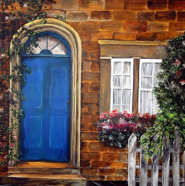 Blue Door Art Print featuring the painting Blue Door 2 by Anna-maria Dickinson