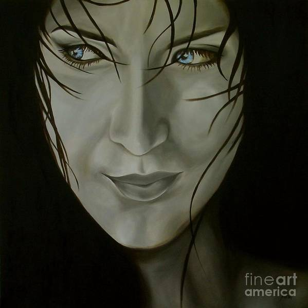 Girl Art Print featuring the painting Blue-eyed Girl by Jindra Noewi
