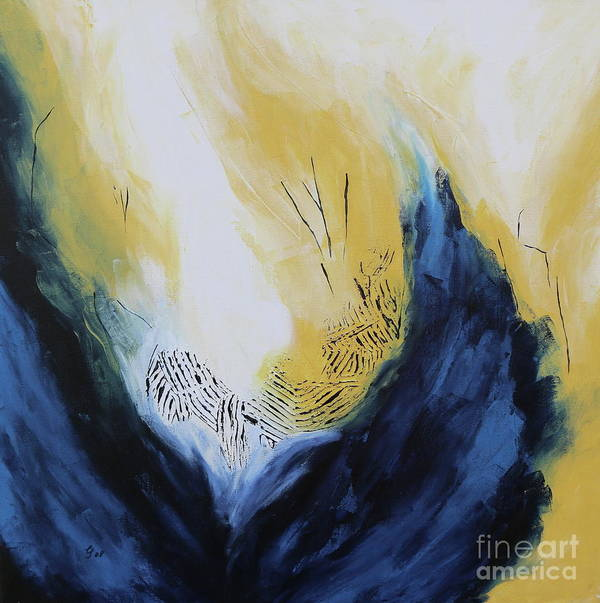 Blue Flame Art Print featuring the painting Blue Flame II by Christiane Schulze Art And Photography