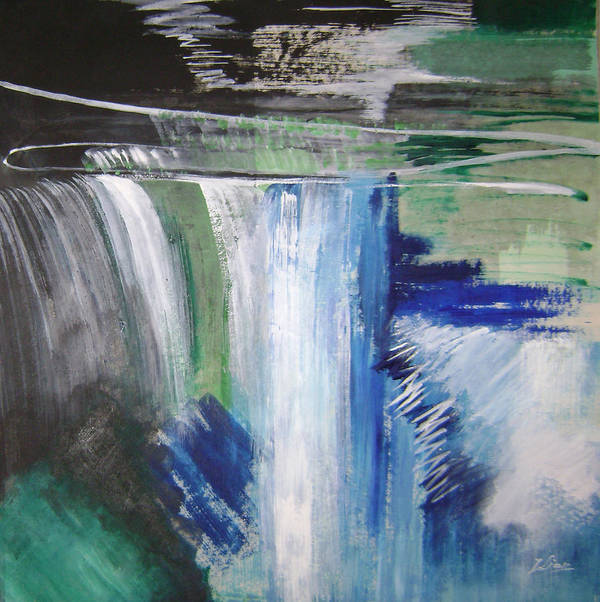 Abstract Art Print featuring the mixed media Blue Waterfalls by Lian Zhen