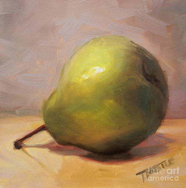 Best Selling Art Prints Art Print featuring the painting Bottoms Up Green Pear Print by Patti Trostle
