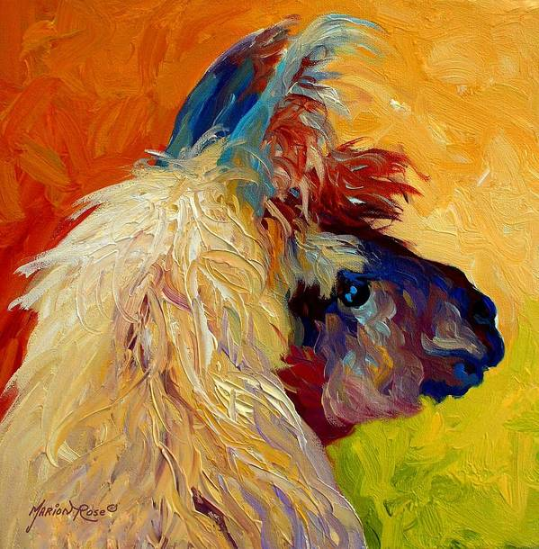 Llama Art Print featuring the painting Calico Llama by Marion Rose