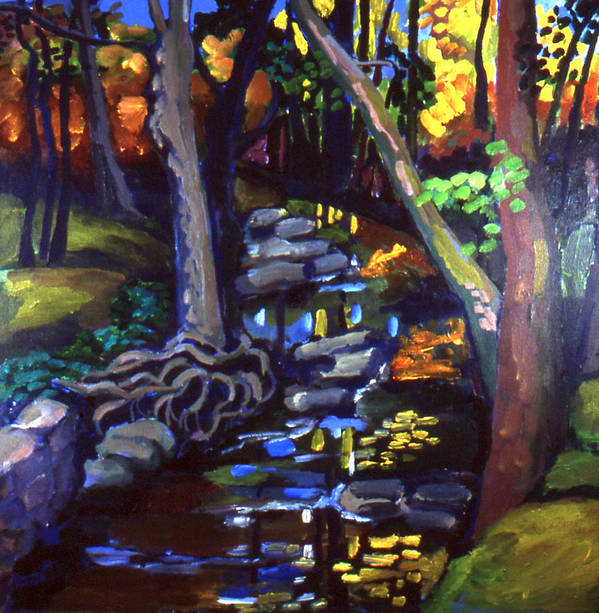 Landscape With Trees Art Print featuring the painting Canterbury Road Runoff Stream by Doris Lane Grey