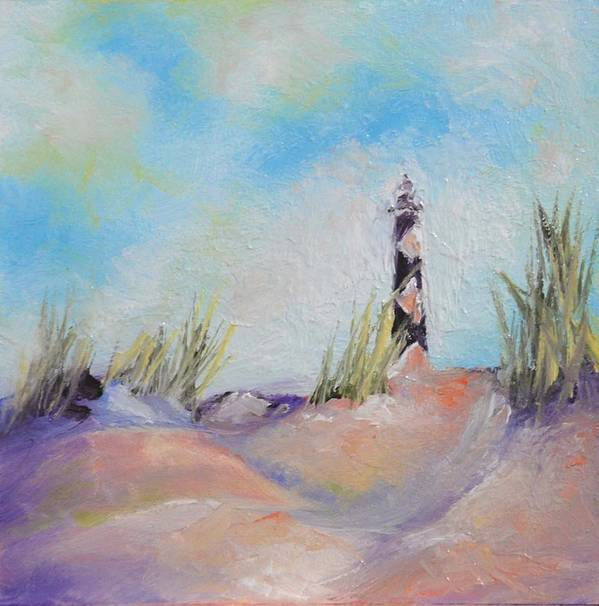 Lighthouse Art Print featuring the painting Cape Lookout Lighthouse by Donna Pierce-Clark