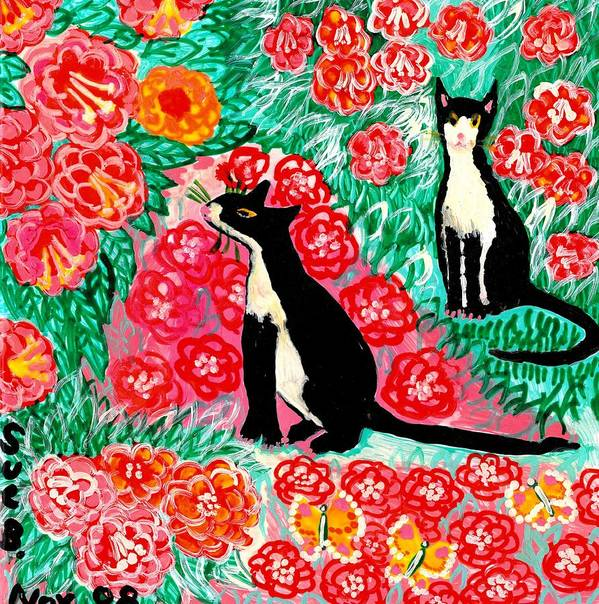 Sue Burgess Art Print featuring the painting Cats And Roses by Sushila Burgess