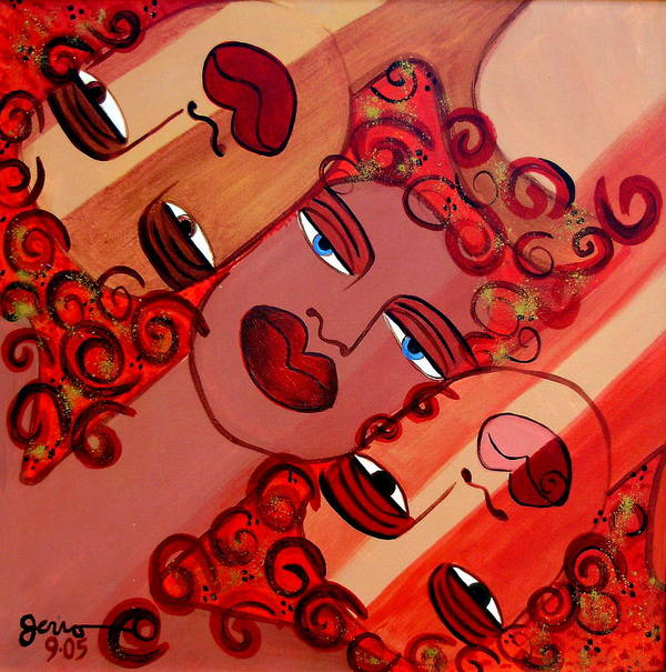 Faces Arwork Art Print featuring the painting Celebration Of Women by Helen Gerro