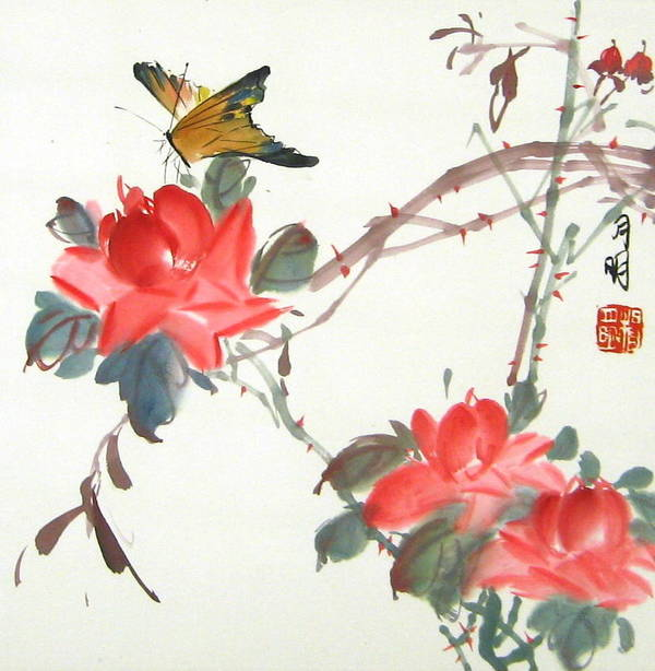 Chinese Painting Art Print featuring the painting Charm Of Nature by Ming Yeung