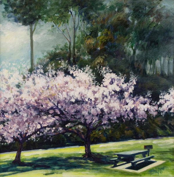 Trees Art Print featuring the painting Cherry Blossoms by Rick Nederlof