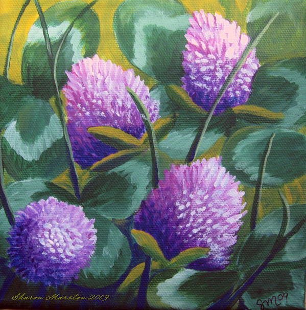 Clover Art Print featuring the painting Clover by Sharon Marcella Marston