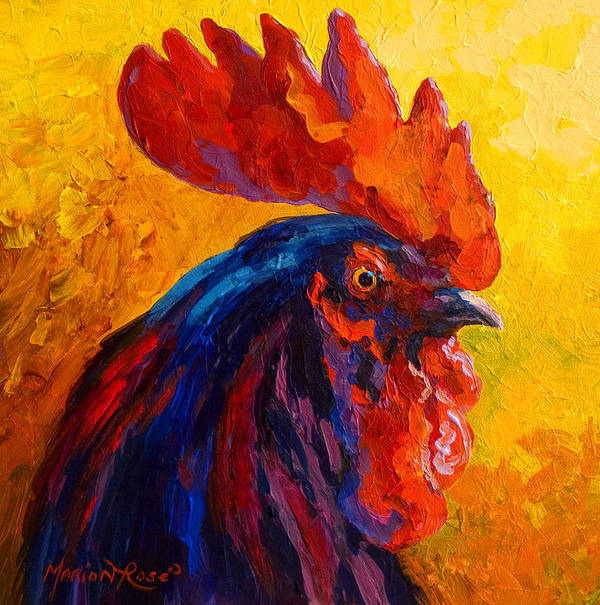 Rooster Art Print featuring the painting Cocky - Rooster by Marion Rose