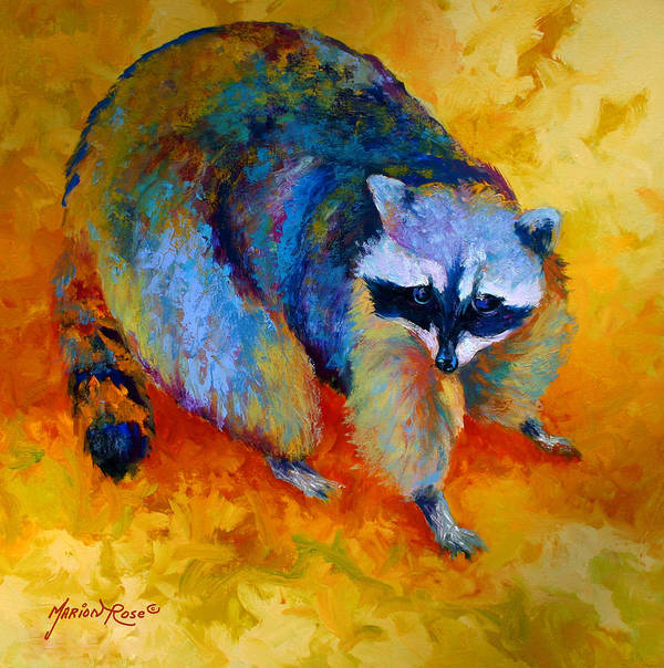 Racoon Art Print featuring the painting Coon by Marion Rose