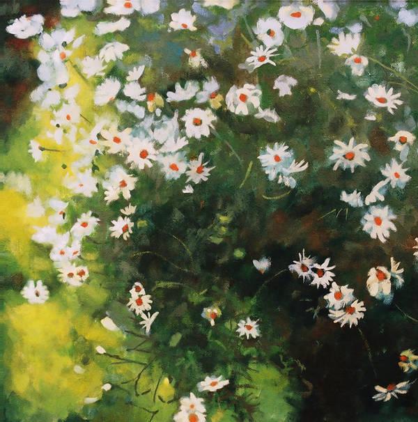 Daisies Art Print featuring the painting Daisies by Iliyan Bozhanov