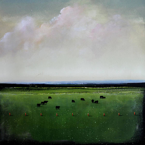 Cows Print featuring the painting Dandelion Pastures by Toni Grote
