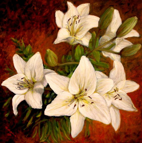 Realism Art Print featuring the painting Day Lilies by Donelli DiMaria
