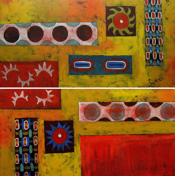 Abstract Art Print featuring the painting Descendance Dyptich by Aliza Souleyeva-Alexander