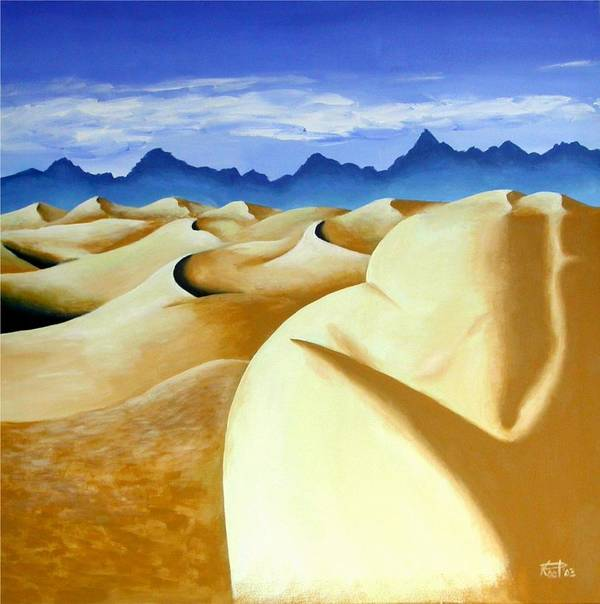 Desert Landscape Nudes Surreal Art Print featuring the painting Deserted by Poul Costinsky