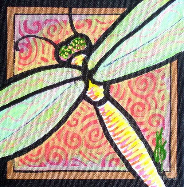 Dragonfly Art Print featuring the painting Dragonfly Fantasy 3 by Jim Harris