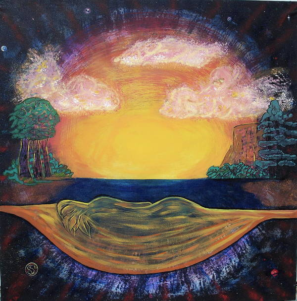 Sunset Golden Goddess Glowing Ocean Horizon Art Print featuring the painting Dreaming Goddess by Eric Singleton