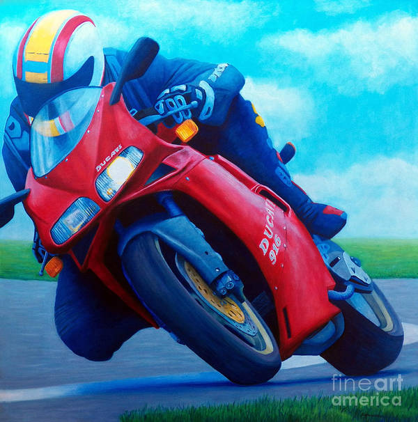 Motorcycle Art Print featuring the painting Ducati 916 by Brian Commerford