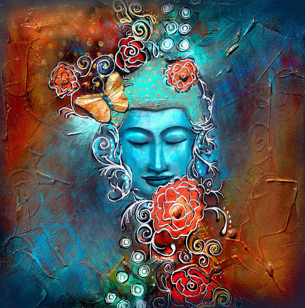Buddha Print featuring the painting Emergence by Tara Catalano