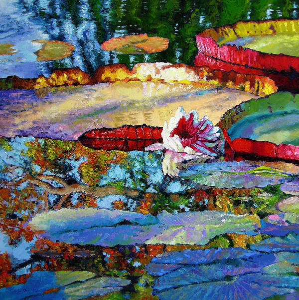 Garden Pond Art Print featuring the painting Emotions Of Color Light And Texture by John Lautermilch