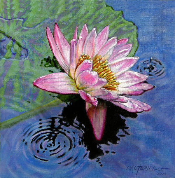 Water Lily Art Print featuring the painting End Of Summer Shower by John Lautermilch