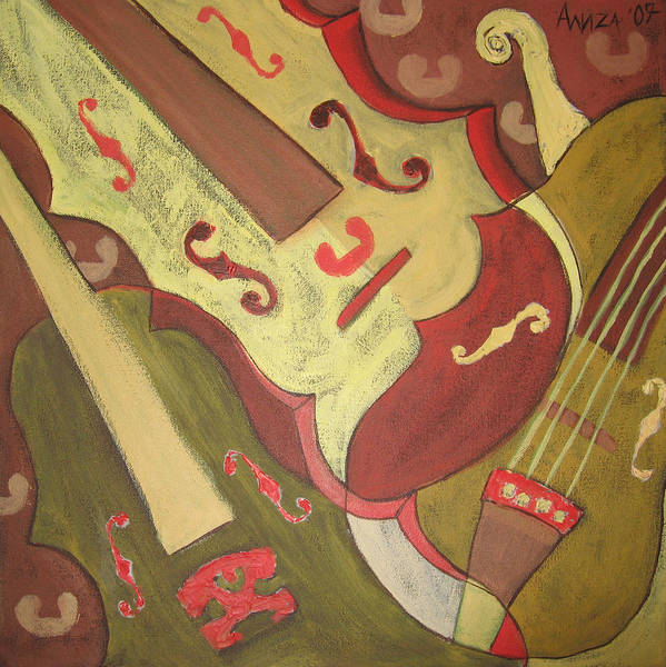 Violin Art Print featuring the painting Endless Music by Aliza Souleyeva-Alexander