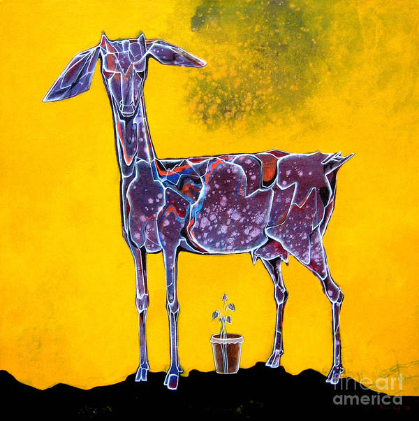 Goat Art Print featuring the painting Expecting Mother by Pradip Sengupta