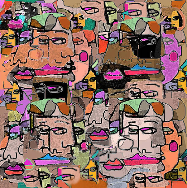 Faces Art Print featuring the digital art Faces by Joyce Goldin