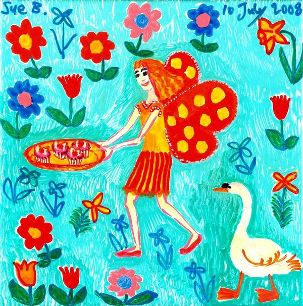 Sue Burgess Art Print featuring the painting Fairy Cakes by Sushila Burgess