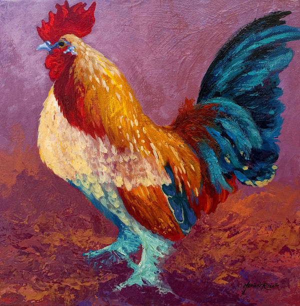 Rooster Art Print featuring the painting Fancy Pants by Marion Rose