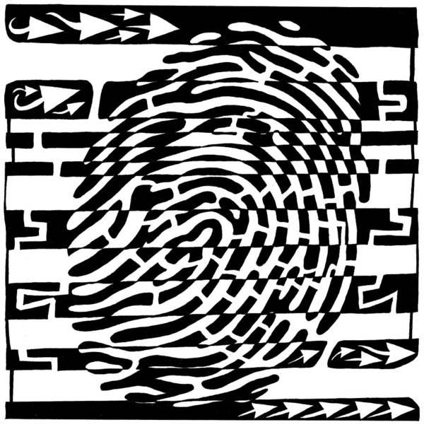 Fingerprint Art Print featuring the drawing Fingerprint Scanner Maze by Yonatan Frimer Maze Artist