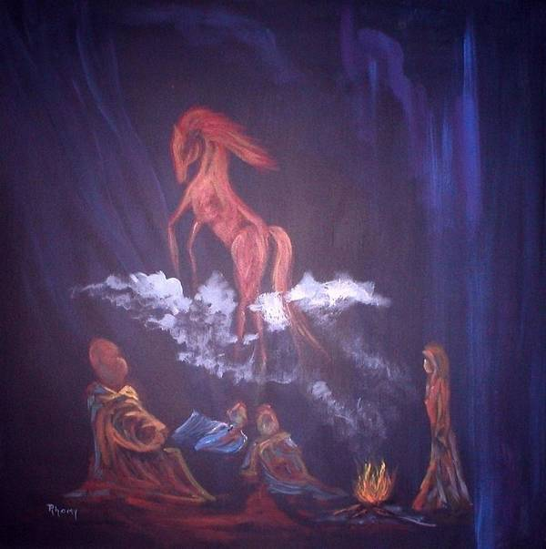 Camping Art Print featuring the painting Fireside Tales by Rhonda Myers