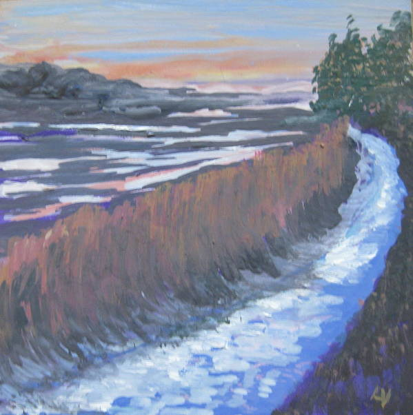 New Harbor Art Print featuring the painting First Light At Newharbor by Lynne Vokatis