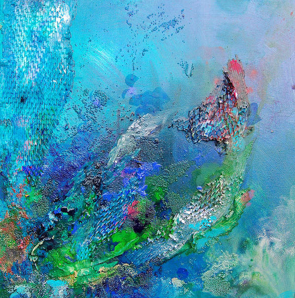 Ocean Art Print featuring the painting Fish Scales by Karen Ahuja